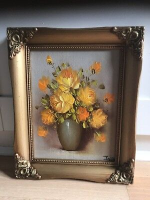 Charming Signed Oil Painting On Board Of Roses In Ornate Gold Frame