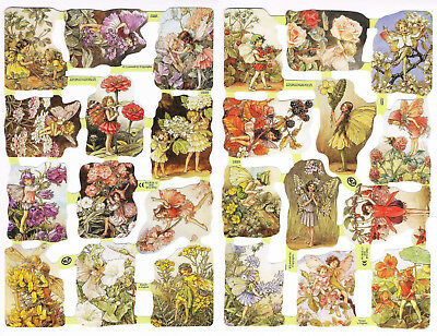 Vintage Mamelok Scraps - Cicely Mary Barker - Flower Fairies - Sheets 1888, 1889