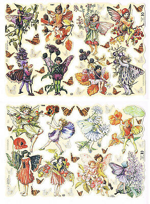 Vintage Mamelok Scraps - Cicely Mary Barker - Flower Fairies - Sheets 1987, 1988
