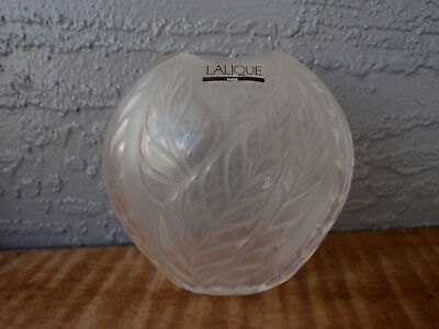 Lovely Lalique Filicaria Clear and Frosted Crystal Pillow Vase - Excellent!