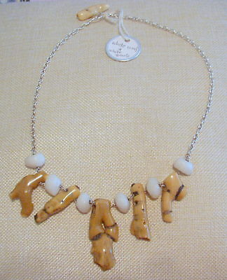 """Handcrafted Natural White Branch Coral & White Quartz Necklace - 21"""" Long"""