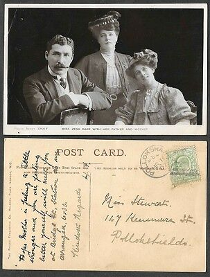 Theatre Actress Photo Postcard - 1907 - Miss Phyllis Dare and Parents