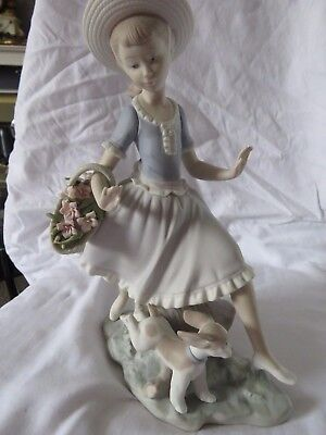 Lladro Large Bisque Figurine Girl With Dog  ' Mirth In The Country'    01004920