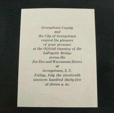 1935 Invitation to the Opening of the Lafayette Bridge Georgetown South Carolina