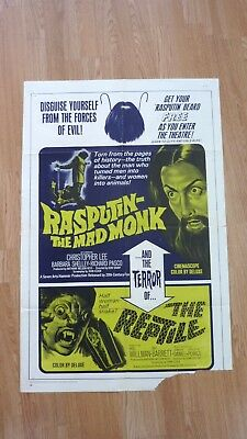 RASPUTIN THE MAD MONK/THE REPTILE (1966) HAMMER HORROR US One Sheet Movie Poster