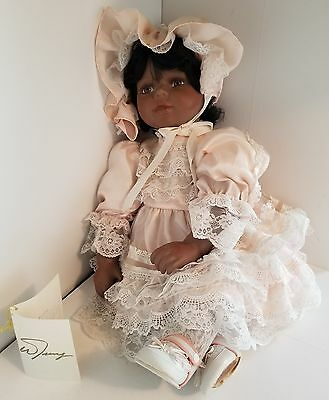 """William Tung 24"""" African American Porcelain Toddler in Ruffled Dress w/Tag"""