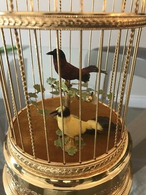 Vintage Swiss Reuge Double Birds Singing Bird Cage Music Box Gold Gilt Model