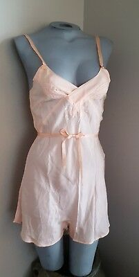 Beautiful Vintage 1930's Peach Teddy Lingerie Detailed  Buttons At The Crotch