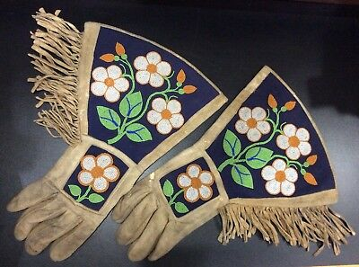 Antique Native American Beaded Gauntlet Gloves 1800's Suede Ceremonial Indian