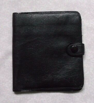 WILLOW CALF VINTAGE LEATHER WALLET BI-FOLD CARDS NOTES 1960s 1970s BLACK