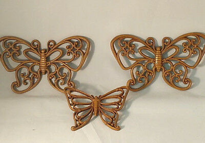 Set of 3 Syroco Brown Butterflies Vintage Hanging Wall Decor #7537 Homco 1978
