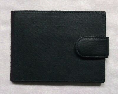 VINTAGE REAL LEATHER WALLET BI-FOLD CARDS NOTES 1990s BLACK RETRO CLASSIC