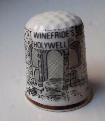 AJL Bone China Thimble - St. Winifride's, Holywell