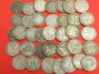 36x Queen Victoria  King George V King George VI SILVER THREEPENCE COINS