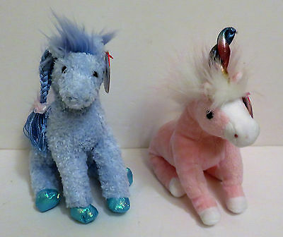 Ty Beanies Plush Unicorn and Horse in Pink and Blue New w/ Tag