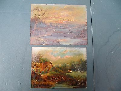 Pair of Unframed Vintage Oil Paintings On Board