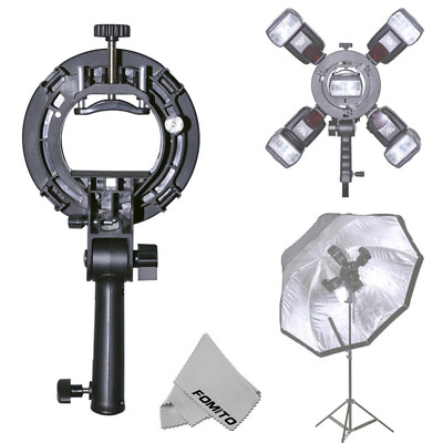 Fomito 80x80 Foldable Universal Softbox with S Model Flash Bracket for Flash Bow
