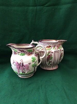 2 antique (Staffordshire?) pink lustre jugs (5.5 and 5.75 inches)