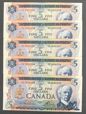 Lot of 5 Consecutive 1972 Bank of Canada $5 - Lawson Bouey Signatures
