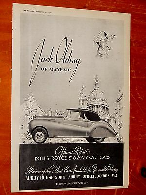 Bentley Convertible For 1950 Jack Olding Dealer Ad - Classic British Vintage