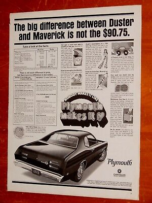 Neat 1970 Plymouth Duster Ad Compared To Ford Maverick Ad - Vintage American 70S
