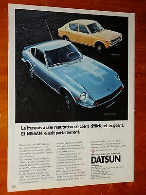 French 1971 Datsun 240-Z & Cherry 100 Classic Ad - Vintage 1970S Japanese Auto