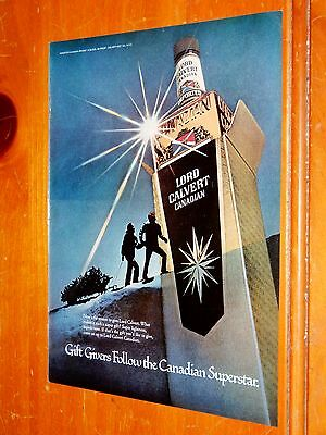 1980 Lord Calvert Canadian Whisky Ad + Salem Lights Cigarette Ad On Back Vintage