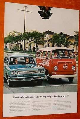 1969 Volkswagen Bus Van Compared To Plymouth Satellite Wagon Ad - Vintage 60S