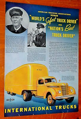 1938 International Semi Truck Ad With Best & Safest Drivers - Vintage American