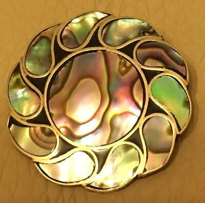 Vintage Retro Mexican Alpaca Inlaid Abalone Blue Pink ST Sun Brooch Pin Pendant
