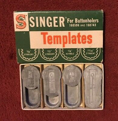 Vintage Singer Templates for Buttonholers 160506 & 160743 in Original Box - USA