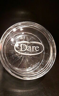 Dare Cookie Candy dish rare and collectable beautiful etched logo clear glass