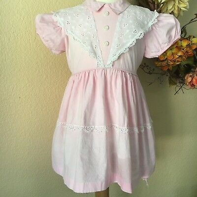Vintage Girl's Party Dress Pink White Eyelet Sheer 50s Twirly Puff Sleeves Bow