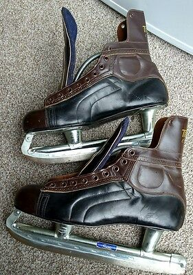 Vintage NHL APPROVED TRULINE leather CUSTOM HOCKEY SKATES Gordie Howe certified