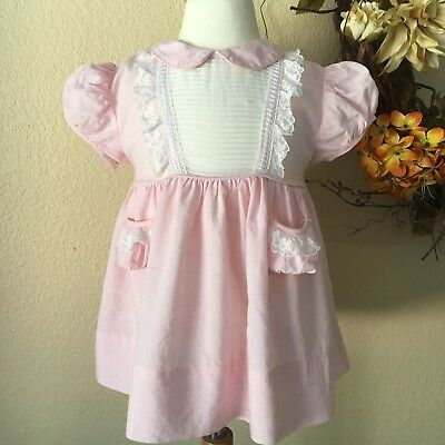 Vintage Girl's Party Dress Sheer White Pink 50s Nylon Twirly Bow Puff Sleeves