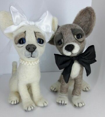 NEEDLE FELTED Chihuahua Dogs Bride Groom Wedding Gift Pups OOAK-Artist-by Sarah