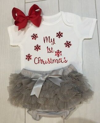 Girls My 1st First Christmas Outfit Tutu Knickers & Bow Photo Shoot Prop Silver