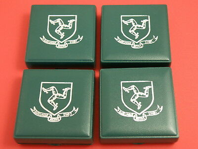 ISLE OF MAN - FOUR  x 1980 Queen Mother DIAMOND FINISH CROWN COINS in Cases