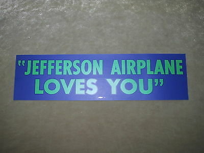 Jefferson Airplane Loves You BUMPER STICKER, Original Rare 1967 issue