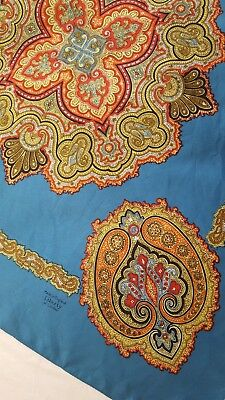 PRETTY Liberty of London SIlk Scarf Turquoise Blue Red GOld Medallion