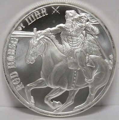 Red Horse of War .999 Silver Four Horsemen of Apocalypse 1 Troy Oz Round - MA126