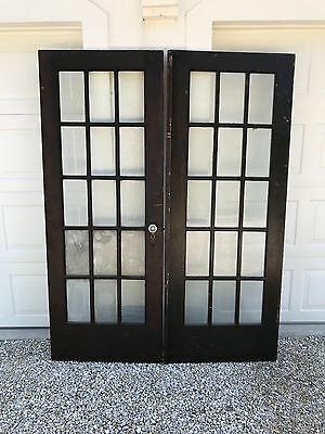 "Vintage Wood Interior French Door w/ Glass Panes   79H x 1-1/2""T x 30W from1930s"
