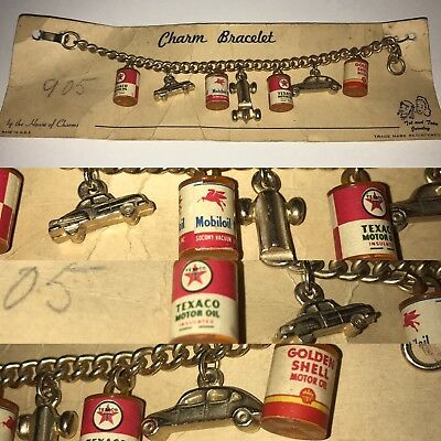 VINTAGE TEXACO CHARM BRACLET ADVERTISING PROMO TOY CARS CANS Pegasus Mobiloil