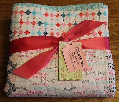 Handmade Baby Girl, Toddler, Machine Quilted Blanket, Cotton Quilt