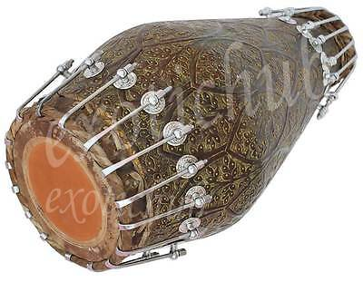 New Brass Khol Drums~Antique Finish~Easy Bolt Tuned~Hand Made Indian~Bhajan