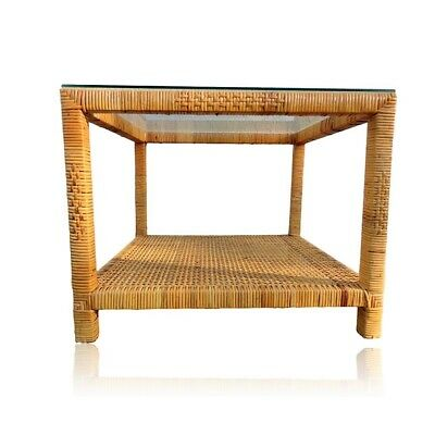 Vintage Woven Wicker Rattan Bamboo End Accent Hall Table With Shelf & Glass Top