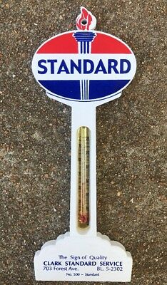 Vintage 1950 / 1960 Standard Gas and Oil Sign with Thermometer adv. Gas Station