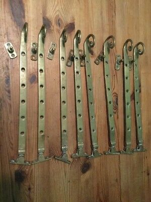 8 Vintage Solid Brass Window Stays Monkey Tails Antique Reclaimed  M&P 1971