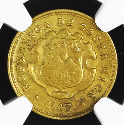 "Costa Rica 10 Centimos 1947 Coin ""ECB"" Variety NGC AU 58 Micro Letters RARE"