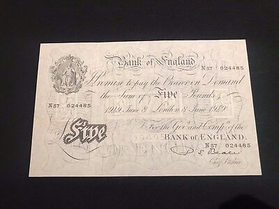 £5 Bank of England 1949 White five pounds P.S Beale. Mint UNC condition